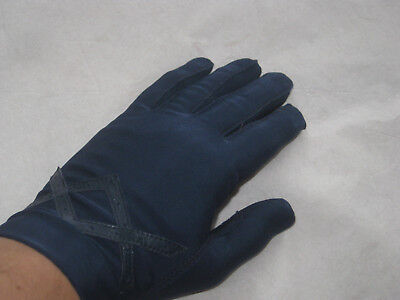 VINTAGE Womens NAVY BLUE Spandex Driving Gloves (One Size) -