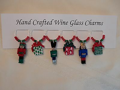 """NUTCRACKER "" CHRISTMAS SET OF 6 Hand Crafted Wine Glass Charm drink markers"