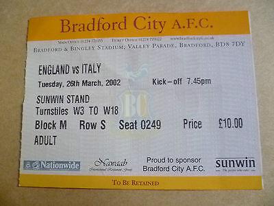 Ticket 2002 ENGLAND v ITALY, 26 March