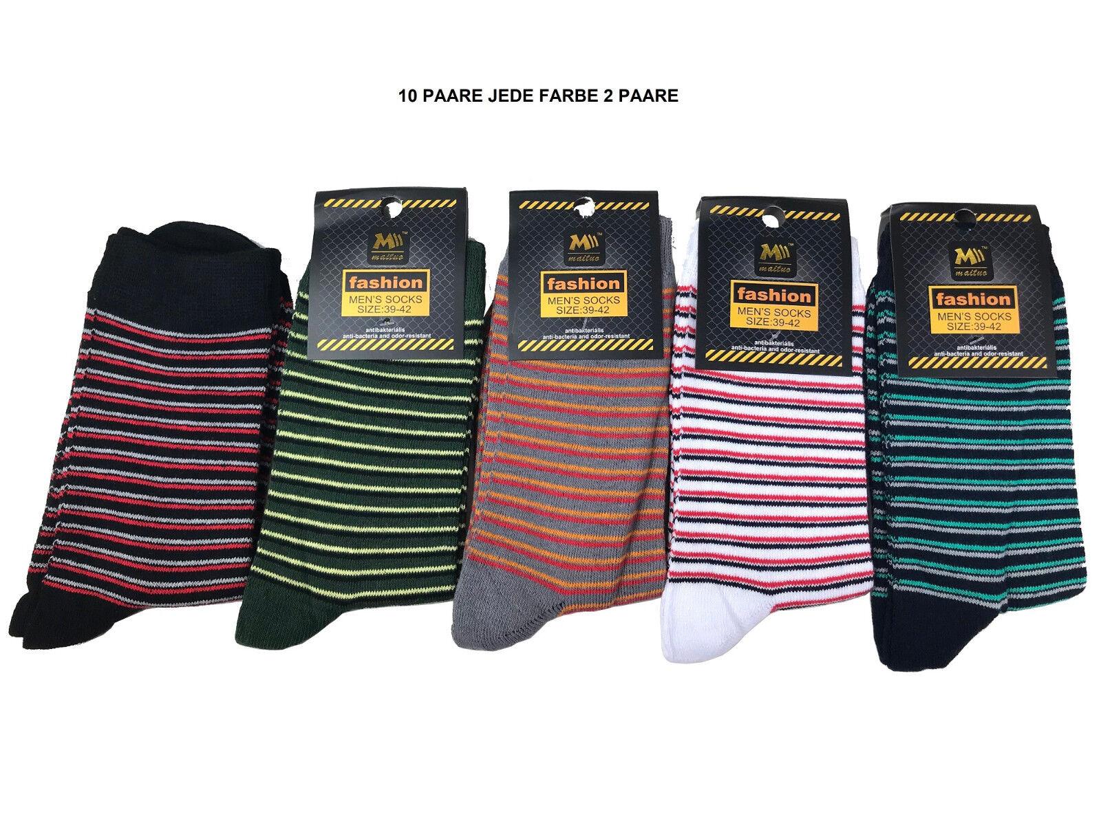 Herren Socken Baumwolle 10er Pack gestreift in 5 Farben socks for men 161014