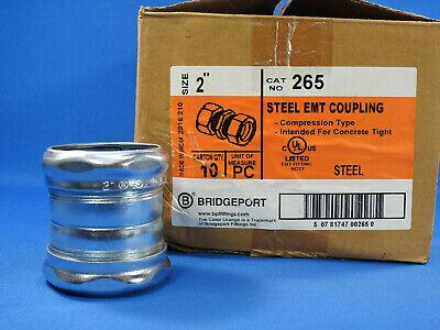 Bridgeport Fittings 265 Compression Coupling, Steel, EMT Conduit, 2 in. 10 pc.