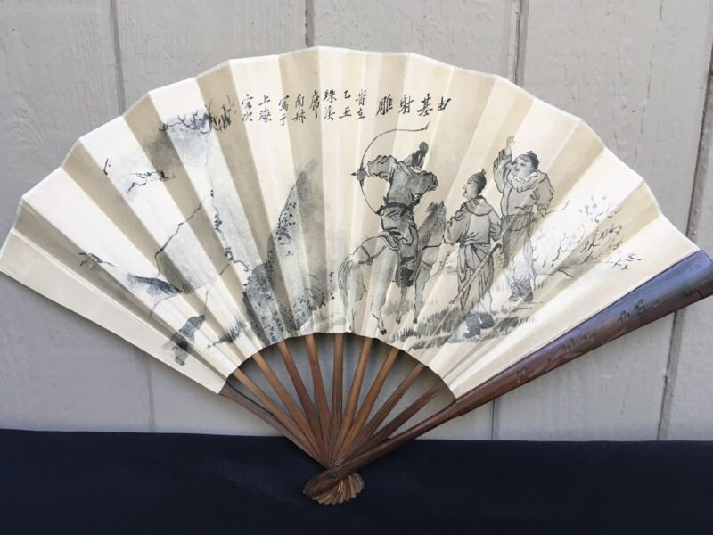 Vintage Asian Hand Painted Fan Artist Signed With Story