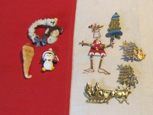8 Christmas pins brooches, Santa, bear, XMAS tree, penguin, reindeer, snowman ++