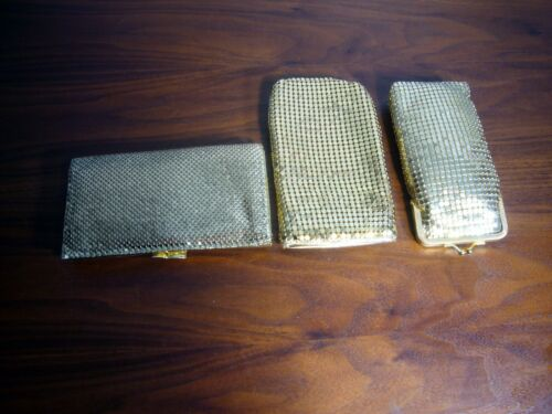 3 pieces Gold Tone Mesh Wallet Cigarette Case Phone Eyeglass