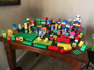 Lot x 250 Pieces Lego Duplo Animals People Blocks Bases EUC