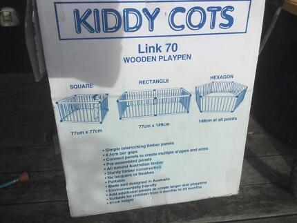 Kiddy Cots timber playpen Link 70, as new condition