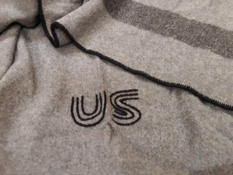 Civil War Campaigner Reenactor US Marked Gray Federal Wool Blanket By Woolrich