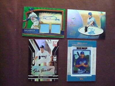 Lot of (4) Los Angeles Dodgers jersey relic, certified autograph & patch cards
