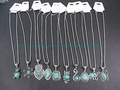 US SELLER-10pcs retro vintage wholesale lot turquoise jewelry pendant necklace