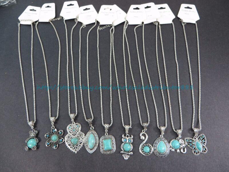 10pcs retro  wholesale lot turquoise jewelry pendant necklace