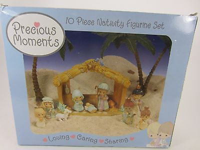 """PRECIOUS MOMENTS 10 piece 2005 NATIVITY FIGURINE SET Resin 4.5"""" tall stable"""
