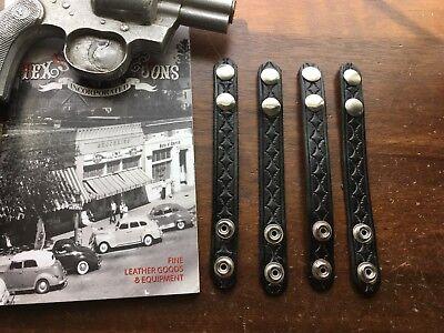 Vintage 4 Tex Shoemaker Black Basketweave Leather Police Belt Keepers 2 Belt