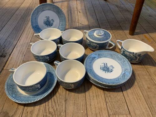 CURRIER & IVES Royal China Blue Tea Set - SCROLL Cups Saucers Sugar Dish Creamer