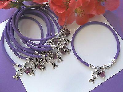 10 Pancreatic Cancer Alzheimers Lupus Awareness Bracelets W Purple  Heart Bead
