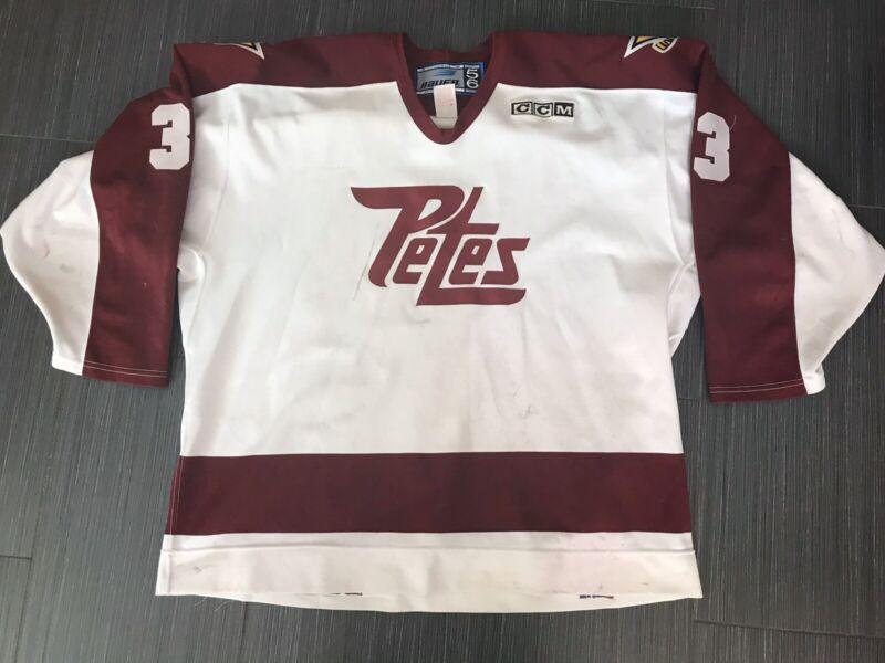 Game Worn CCM / BAUER Peterborough Petes CHL OHL Hockey Jersey Sz 56