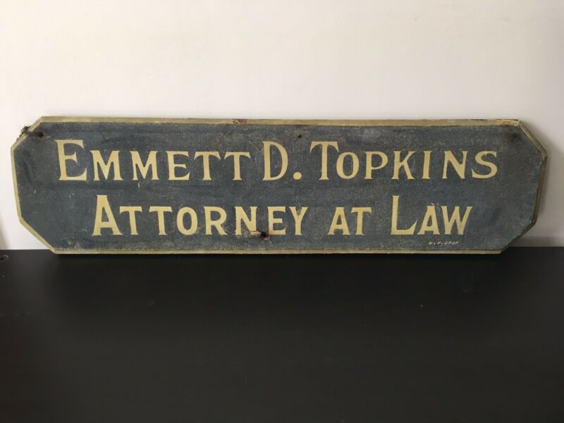 Antique Attorney Hand Painted Gilt Wood Sign/ Emmett Topkins, New Brunswick NJ