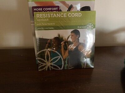 NEW GAIAM COVERED RESISTANCE CORD KIT (DVD SET) Workout Medium Covered Resistance Cord Kit