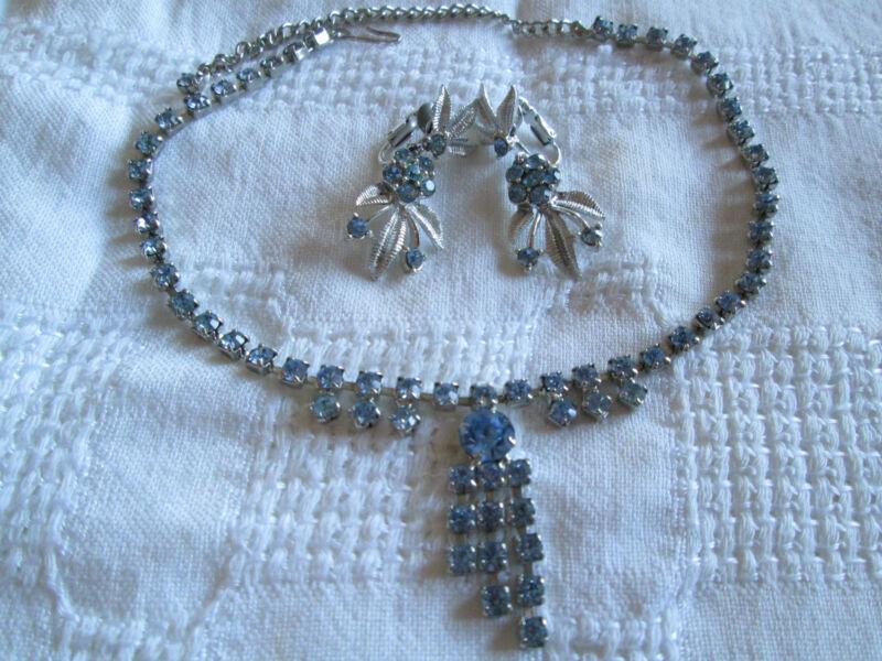 Vintage Coro Ice Blue Rhinestone SilvertoneClip-on Earrings Necklace Jewelry Lot
