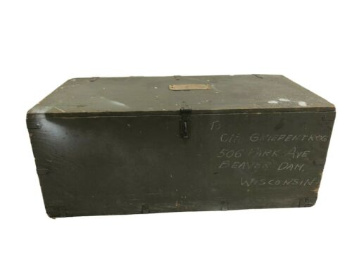 Vintage Military FOOT LOCKER Trunk chest w tray flat top storage wood box GREEN