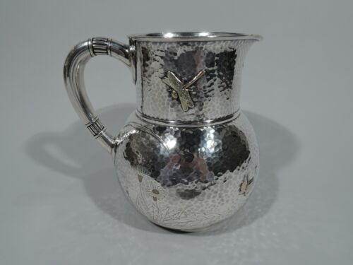 Tiffany Pitcher - 3077 - American Hand Hammered Sterling Silver & Mixed Metal