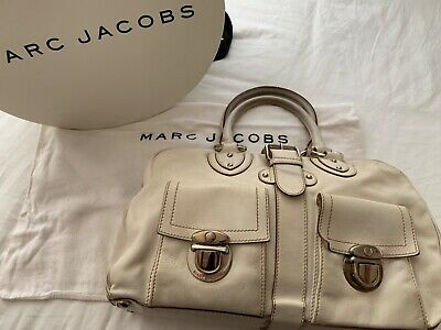 Marc Jacobs BLAKE Cream Ivory White Leather Buckle Satchel Made in Italy $995 Ivory White Leather