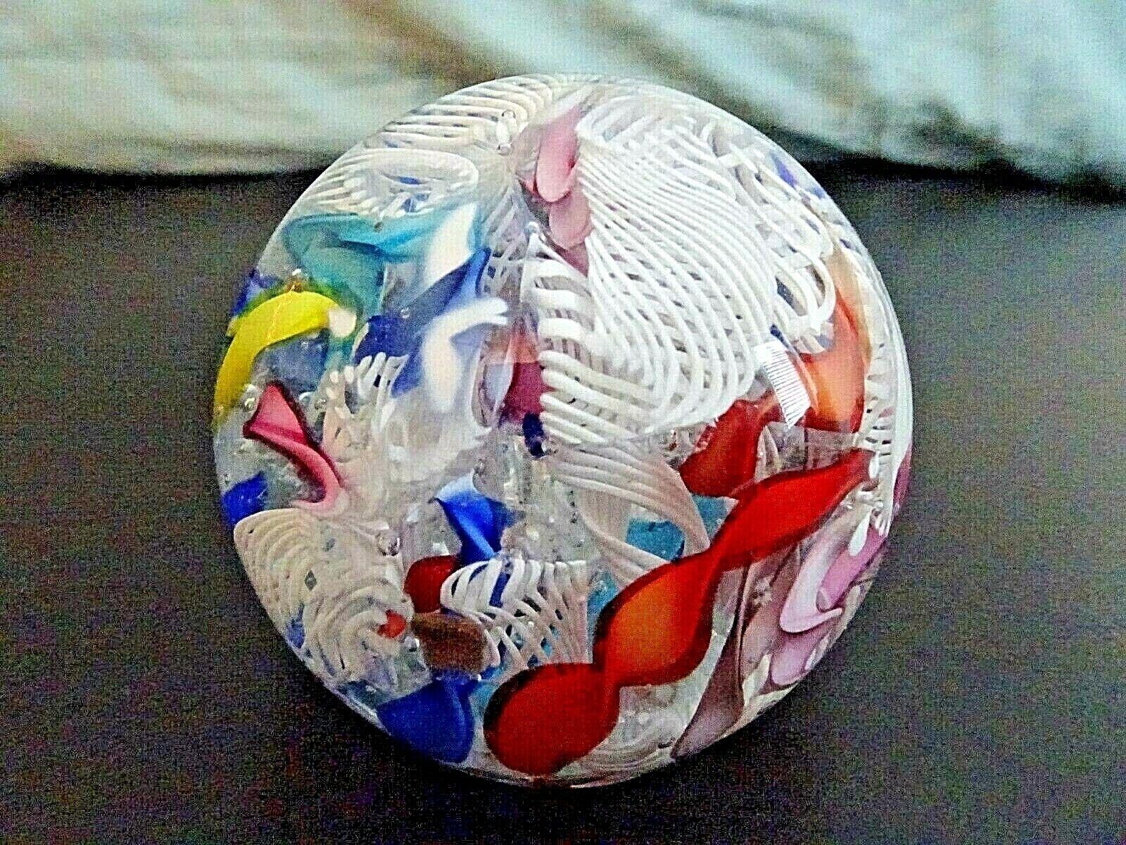 Vintage Murano Art Glass LATTICINO Ribbon SCRAMBLE Paperweight Tutti Fruitti - $49.50