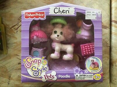 Toy Figure Fisher Price Set Snap N Style Pets CHERI POODLE Dog Pink Purple