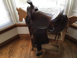 "15"" big horn leather western saddle"