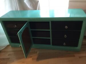 Navy blue & teal entertainment cabinet -