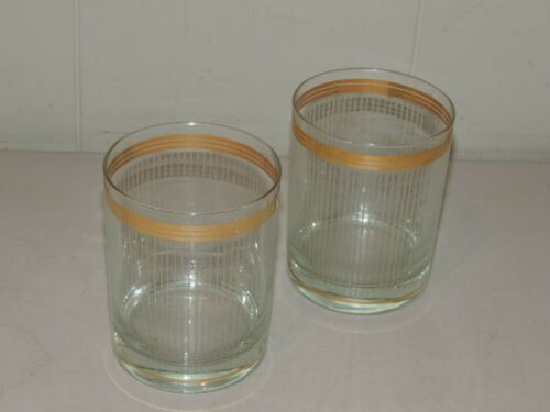 """GREAT MCM PAIR OFDOUBLE OLD FASHIONED ROCKS GLASSES 4 1/8"""" TALL"""