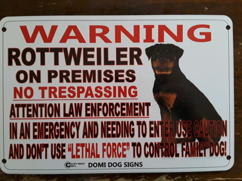 "Metal Warning Rottweiler Dog Sign For FENCE ,Beware Of Dog 8""x12"""