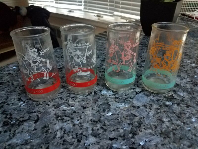 LOT of (4) Mr Magoo Peanut Butter Juice Glasses 1962 UPA Pictures