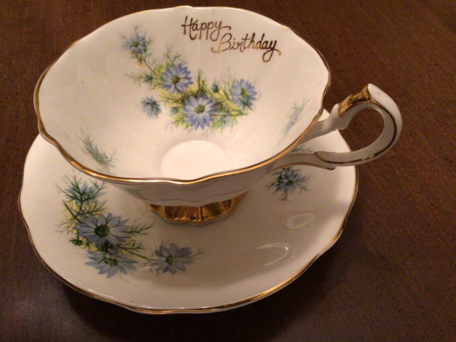 Queen Anne Blue Bachelor Buttons Happy Birthday Bone China Cup Saucer  - $18.99