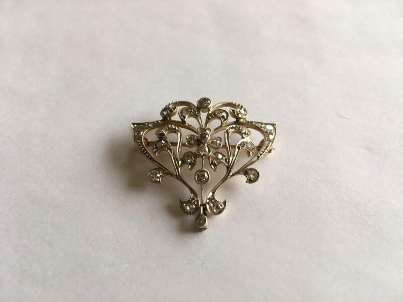 Antique Vintage Art Nouveau Platinum/Gold Diamond Pin/Pendent