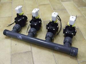 Collettore 4 vie 4 elettrovalvole rpe 1 24v per for Elettrovalvole per irrigazione
