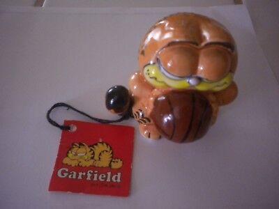 "Vintage Garfield Figurine 3"" 1978 Enesco Ceramic w/Tags Basketball"