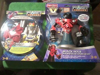 2008 Fisher Price Planet Heroes Figure Lot Black Hole & Star w comics (New)
