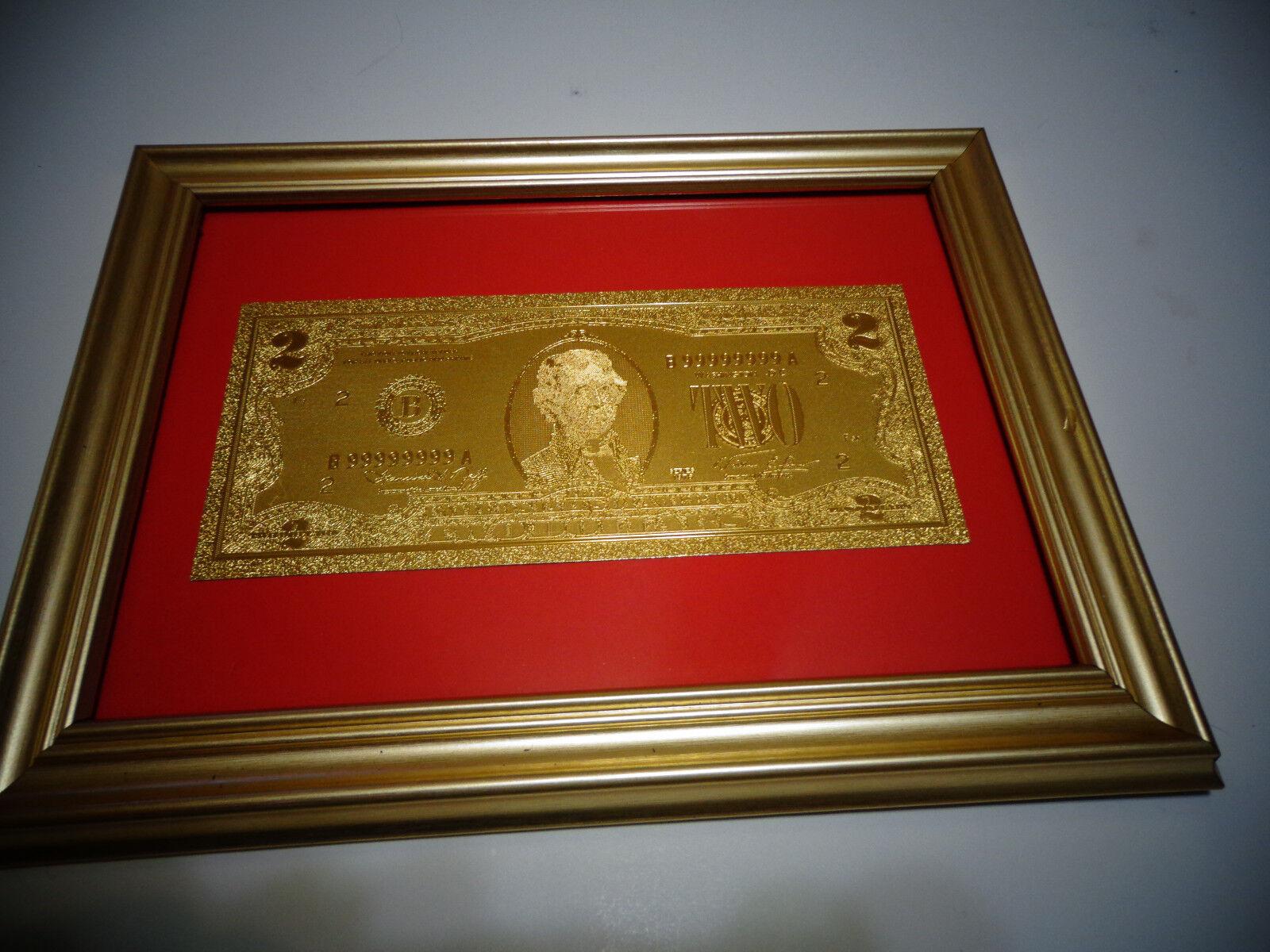 24 karat 999.9% gold usa 1976 $ 2 dollar bill -framed- *limited production, rare