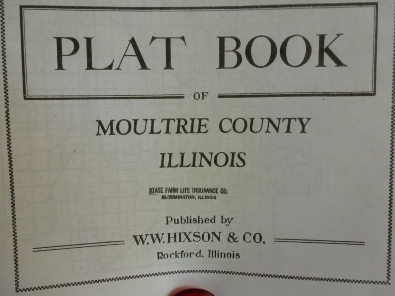 GENEALOGY ILLINOIS MOULTRIE COUNTY PLAT MAP Ca1920-30s
