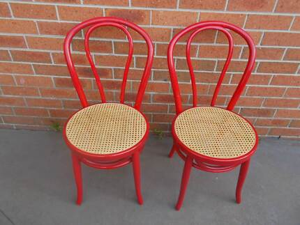 Bentwood Dining Kitchen Chairs Retro Look Red Chairs
