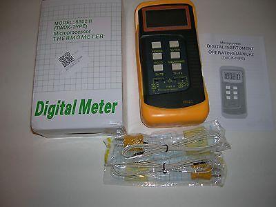 Dual Temperature Digital Thermometer Meter-1- T1t2-k-type Probe Sensors-new