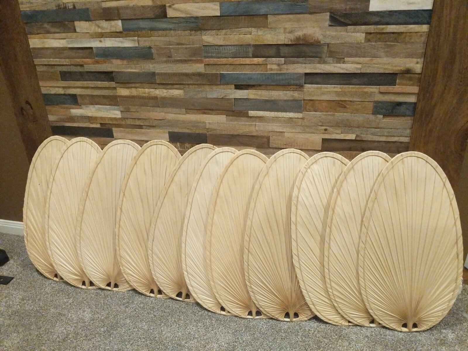 22 Narrow Oval Natural Palm Leaf Blades - Finish: Natural