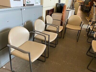 Guestlobbyside Sled Base Chair By Kimball Office Furniture In Beige Leather