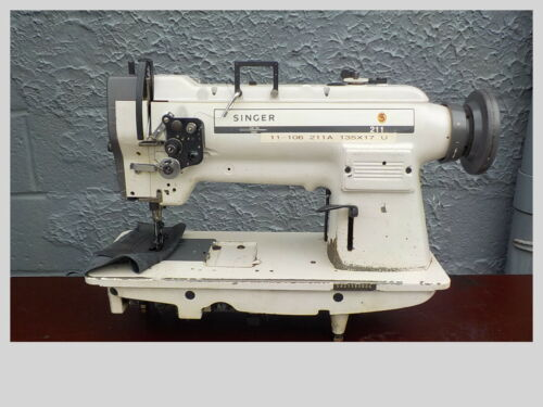 Industrial Sewing Machine Model Singer 211 white, single walking foot- Leather