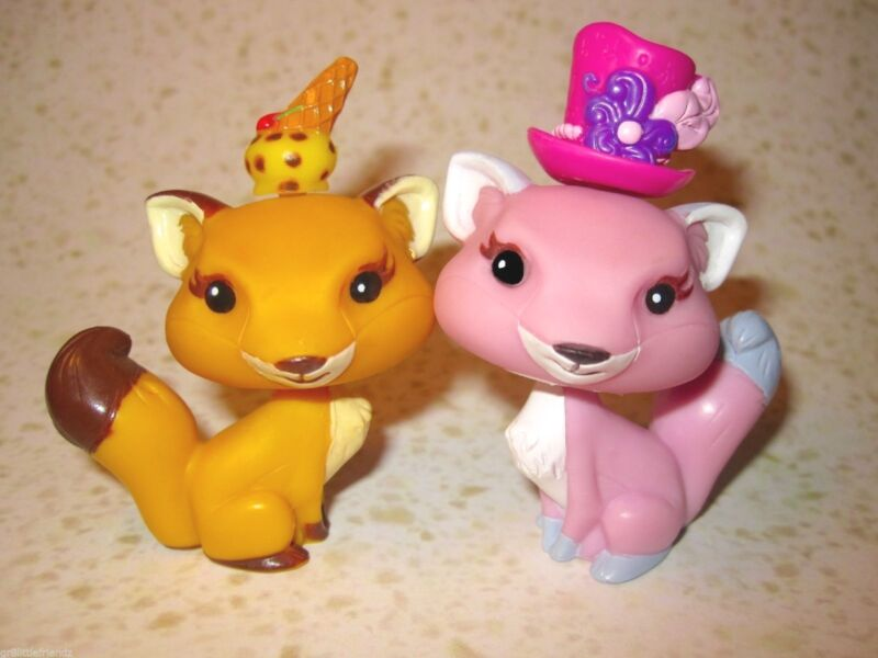 MGA Yummi Land Pet Lot w/ Orange Ice Cream Cone & Pink Top Hat Fox Dog Pals