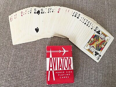 Vintag AVIATOR Poker Deck Playing Cards RED Air Cushion Finish Ohio USA Airplane