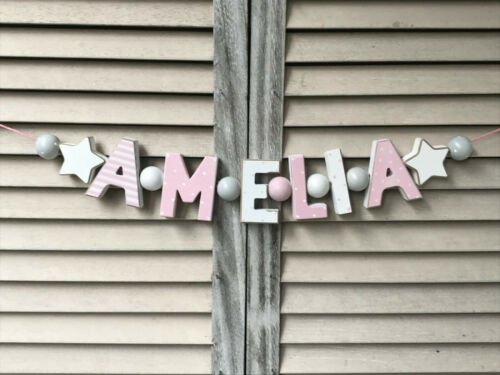"""""""AMELIA"""" PINK WOODEN LETTERS BABYNAME NURSERY DECOR PERSONALIZED NAME SHABBY"""