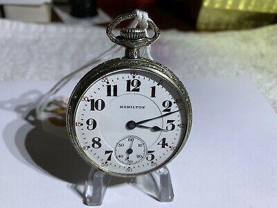 Hamilton Pocket Watch 1917 972 17J 16S, 10K white gold case, recently serviced