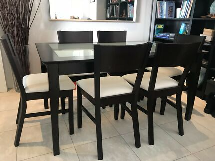 Timber Glass Dining Table And Matching Chairs