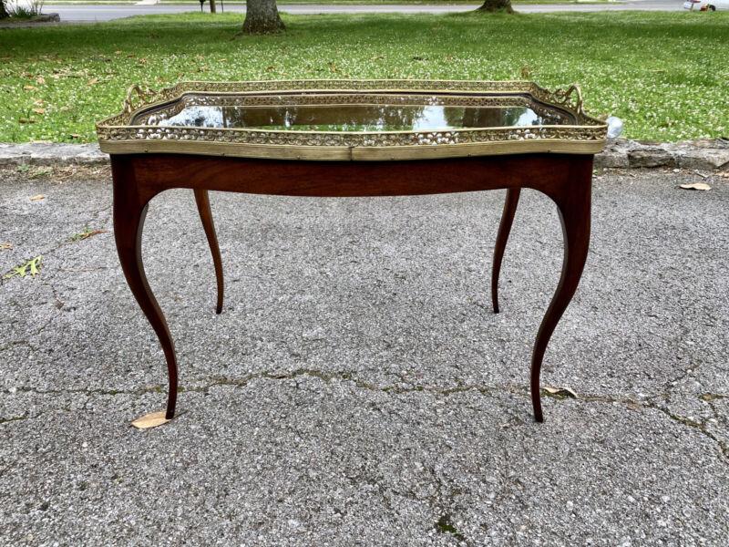 Louis XV Style Gilt Beveled Glass Tray Table with Mahogany Base